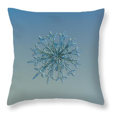 Throw Pillow featuring the photograph Snowflake Photo - Twelve Months by Alexey Kljatov