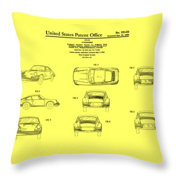 Porsche 911 Patent Throw Pillow