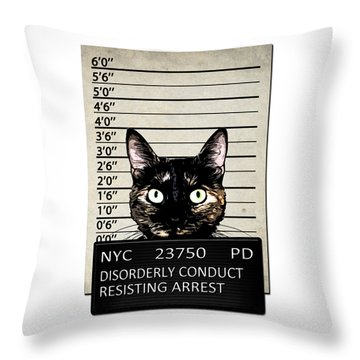 Kitty Mugshot Throw Pillow by Nicklas Gustafsson