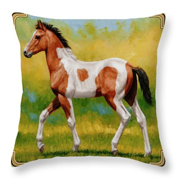 Bay Pinto Foal Throw Pillow