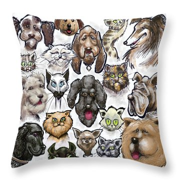 Throw Pillow featuring the digital art Cats N Dogs by Kevin Middleton