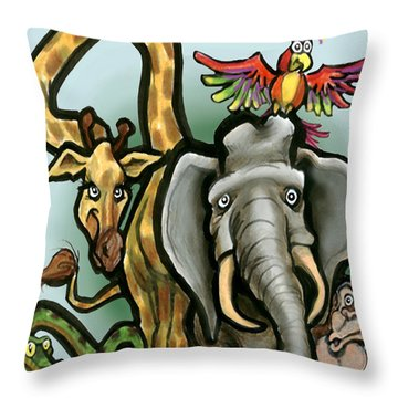 Throw Pillow featuring the digital art Zoo Animals by Kevin Middleton