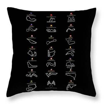 F1 Grand Prix Cicuits Throw Pillow