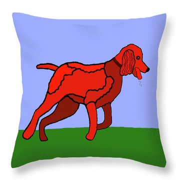 Cartoon Romping Miniature Apricot Poodle Throw Pillow