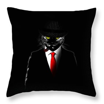 Mobster Cat Throw Pillow by Nicklas Gustafsson