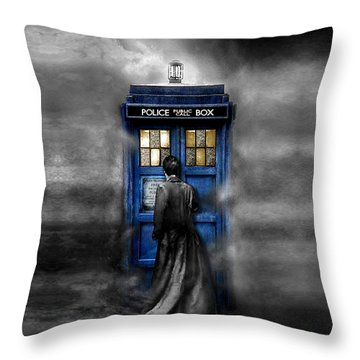 Mysterious Time Traveller With Black Jacket Throw Pillow