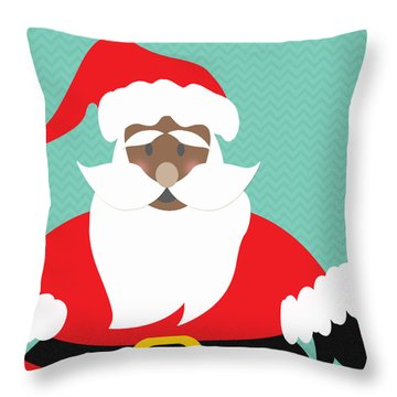 African American Santa Claus Throw Pillow