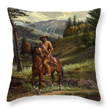 Jim Bridger - Mountain Man - Frontiersman - Trapper - Wyoming Landscape Throw Pillow