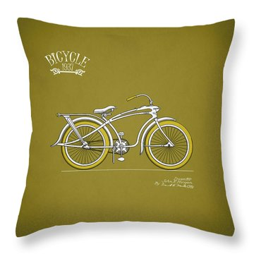 Bicycle 1937 Throw Pillow by Mark Rogan