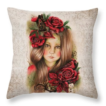 Merry Throw Pillow by Sheena Pike