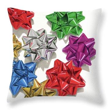 Christmas Bows And Shadows Throw Pillow