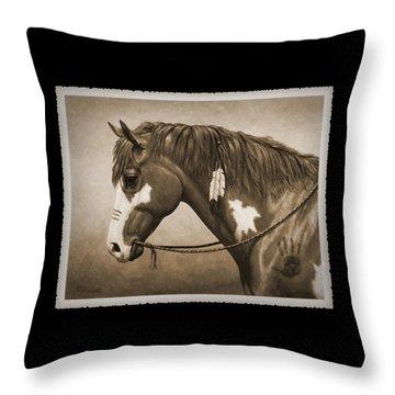 Indian Pony War Horse Sepia Phone Case Throw Pillow