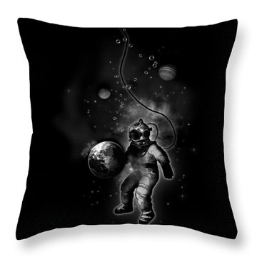 Deep Sea Space Diver Throw Pillow