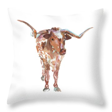 The Original Longhorn Standing Earth Quack Watercolor Painting By Kmcelwaine Throw Pillow