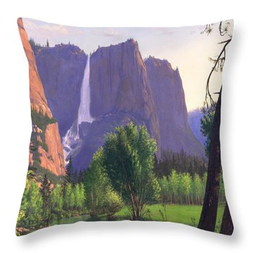 Mountains Waterfall Stream Western Mountain Landscape Oil Painting Throw Pillow by Walt Curlee