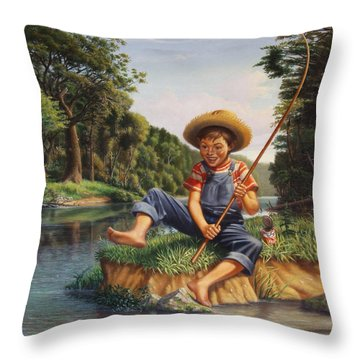 Boy Fishing In River Landscape - Childhood Memories - Flashback - Folkart - Nostalgic - Walt Curlee Throw Pillow
