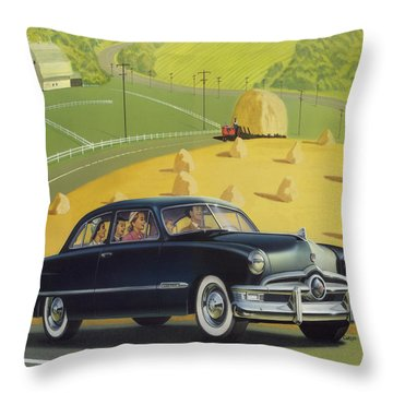 1950 Custom Ford Rustic Rural Country Farm Scene Americana Antique Car Watercolor Painting Throw Pillow