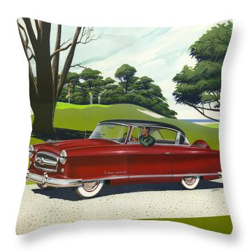1953 Nash Rambler Car Americana Rustic Rural Country Auto Antique Painting Red Golf Throw Pillow by Walt Curlee