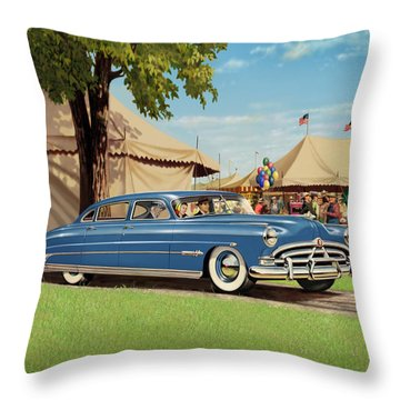 1951 Hudson Hornet Fair Americana Antique Car Auto Nostalgic Rural Country Scene Landscape Painting Throw Pillow