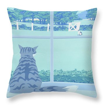 Abstract Cats Staring Stylized Retro Pop Art Nouveau 1980s Green Landscape Scene Painting Print Throw Pillow