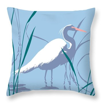 abstract Egret graphic pop art nouveau 1980s stylized retro tropical florida bird print blue gray  Throw Pillow
