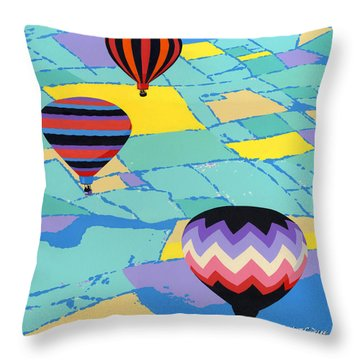 Abstract Hot Air Balloons - Ballooning - Pop Art Nouveau Retro Landscape - 1980s Decorative Stylized Throw Pillow