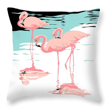 Pink Flamingos Tropical 1980s Abstract Pop Art Nouveau Graphic Art Retro Stylized Florida Print Throw Pillow