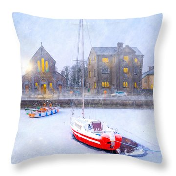 Throw Pillow featuring the photograph Snow Falling On The Claddagh Church - Galway by Mark E Tisdale