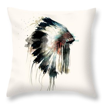 Headdress Throw Pillow by Amy Hamilton