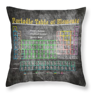 Retro Chalkboard Periodic Table Of Elements Throw Pillow by Mark E Tisdale