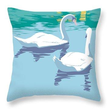 Abstract Swans Bird Lake Pop Art Nouveau Retro 80s 1980s Landscape Stylized Large Painting  Throw Pillow