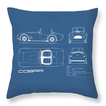 Ac Cobra Blueprint Throw Pillow by Mark Rogan