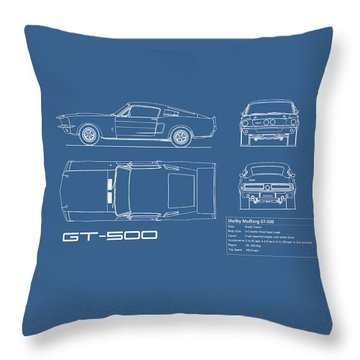 Shelby Mustang Gt500 Blueprint Throw Pillow