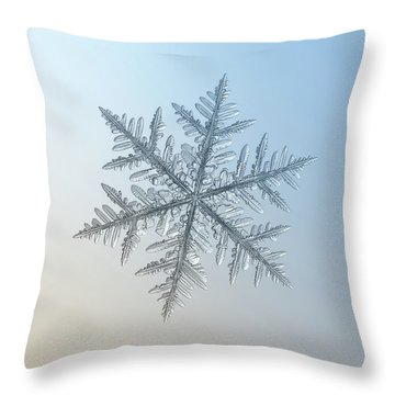 Throw Pillow featuring the photograph Snowflake Photo - Silverware by Alexey Kljatov