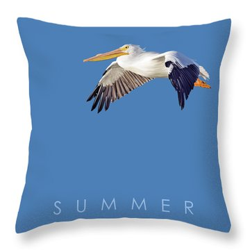 Throw Pillow featuring the drawing Blue Series 003 Summer by Rob Snow