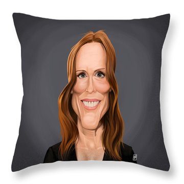 Throw Pillow featuring the drawing Celebrity Sunday - Julianne Moore by Rob Snow