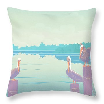 Abstract Pelicans Tropical Florida Seascape Large Pop Art Nouveau 80s 1980s Stylized Painting Throw Pillow by Walt Curlee