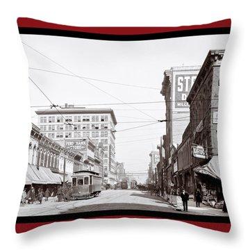 Throw Pillow featuring the photograph Downtown Birmingham Alabama - A Century Ago by Mark E Tisdale
