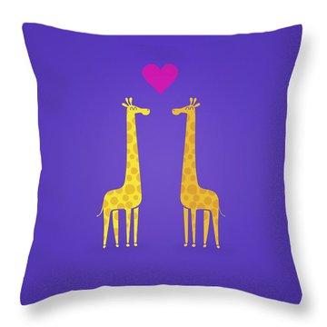Cute Cartoon Giraffe Couple In Love Purple Edition Throw Pillow by Philipp Rietz
