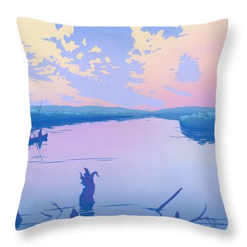 abstract people Canoeing river sunset landscape 1980s pop art nouveau retro stylized painting print Throw Pillow by Walt Curlee
