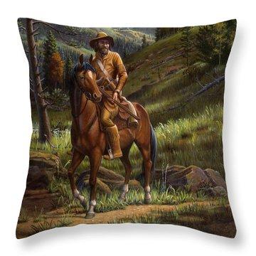 Jim Bridger - Mountain Man - Square Format Throw Pillow