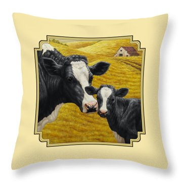Holstein Cow And Calf Farm Throw Pillow by Crista Forest