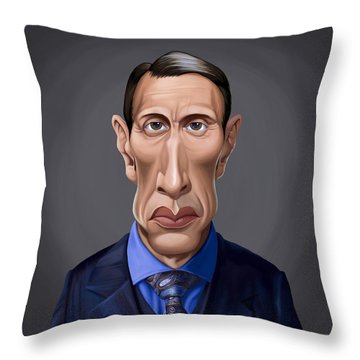 Throw Pillow featuring the drawing Celebrity Sunday - Mads Mikkelsen by Rob Snow