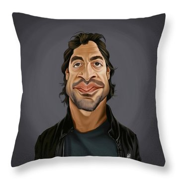 Throw Pillow featuring the drawing Celebrity Sunday - Javier Bardem by Rob Snow
