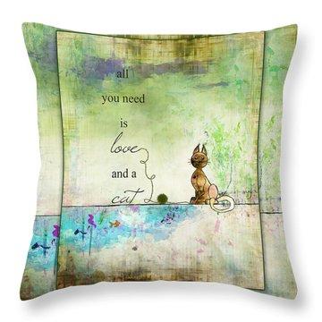 Love And A Cat Ginkelmier Throw Pillow