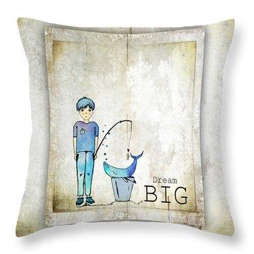 Dream Big Whale In Bucket Ginkelmier Throw Pillow