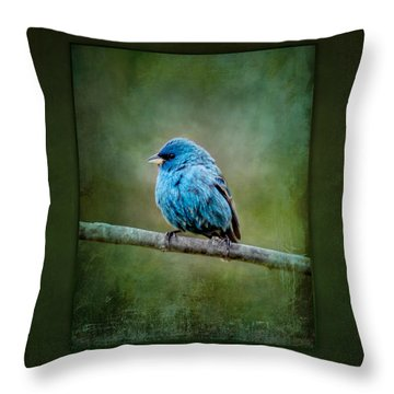 Bird In Blue Indigo Bunting Ginkelmier Inspired Throw Pillow