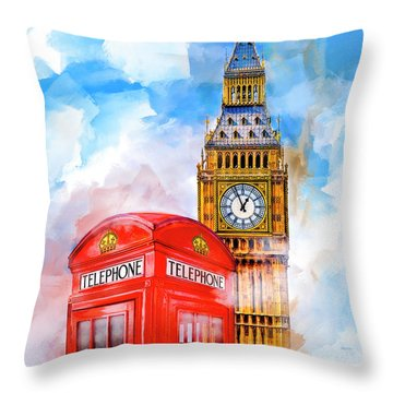 Throw Pillow featuring the mixed media London Dreaming by Mark E Tisdale