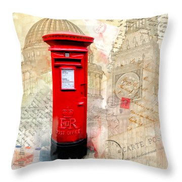 Throw Pillow featuring the mixed media To London By Mail - Classic Post Box by Mark E Tisdale