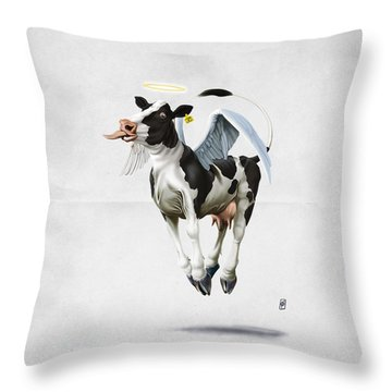 Throw Pillow featuring the drawing Holy Cow Wordless by Rob Snow